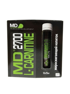 Md liquid l-carnitine 2700, 10 flak x 25 ml (жидкий l-карнитин 2700, 10 флак. х 25 мл) MD