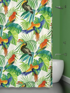 Штора 180х180 д/в BIRDS JUNGLE (ТУКАНЫ) Bath Plus