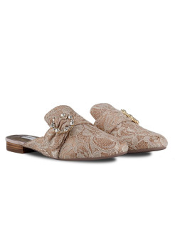 Мюли BEIGE LACE RABBIT LOAFERS