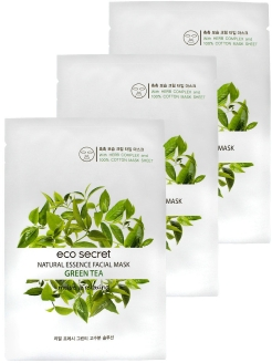 Набор масок для лица с экстрактом зеленого чая Natural Essence Facial Mask Green Tea 3 шт Eco Secret