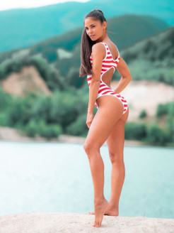 Купальник Baywatch swimsuit in stripe NEBBIA