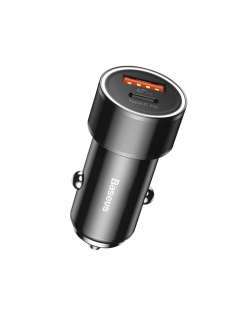 Автомобильная зарядка Small Screw Type-C PD+USB Quick Charge Car Charger 36W Black BASEUS