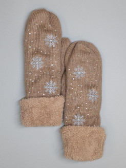 Mittens, embroidery, rhinestones, knitted ST-LIGHT