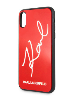 Чехол для iPhone X / XS Double Layer Karl signature Hard Glitter Red Karl Lagerfeld